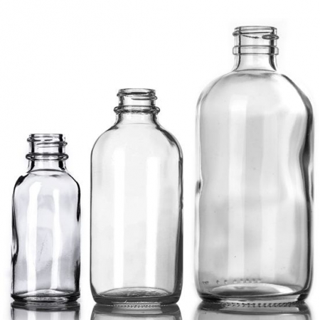 Clear Glass Boston Round Bottles