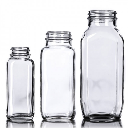 Clear French Square Glass Bottles